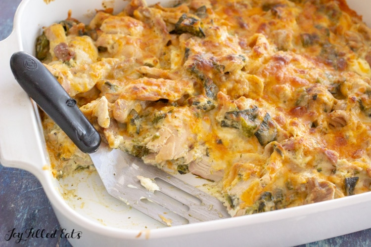 close up of a casserole dish filled with low carb chile relleno casserole