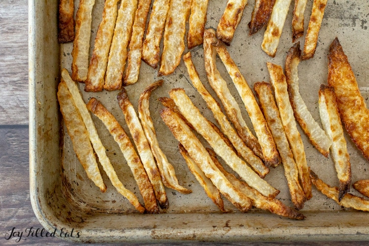a baking sheet with keto fries