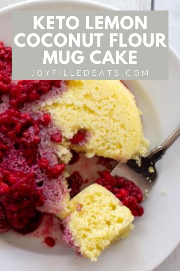 pinterest image for keto lemon mug cake