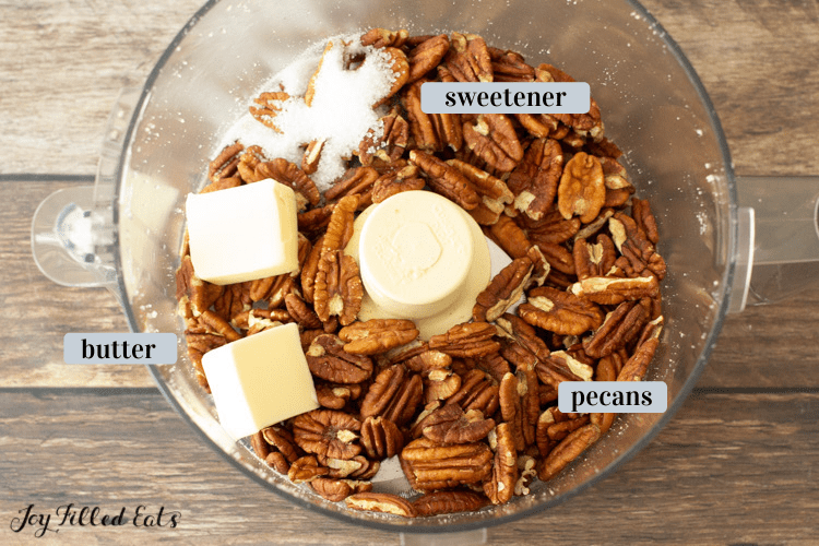 ingredients for the pecan crust in a food processor