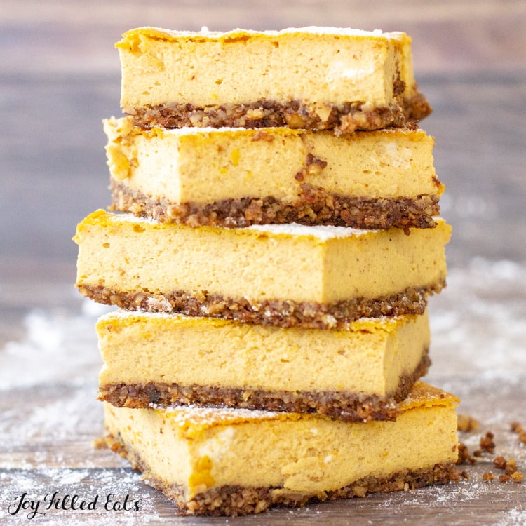 Keto Pumpkin Cheesecake Bars Low Carb Easy 7 Ingredients Gf
