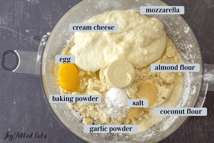 ingredients for the dough in a food processor