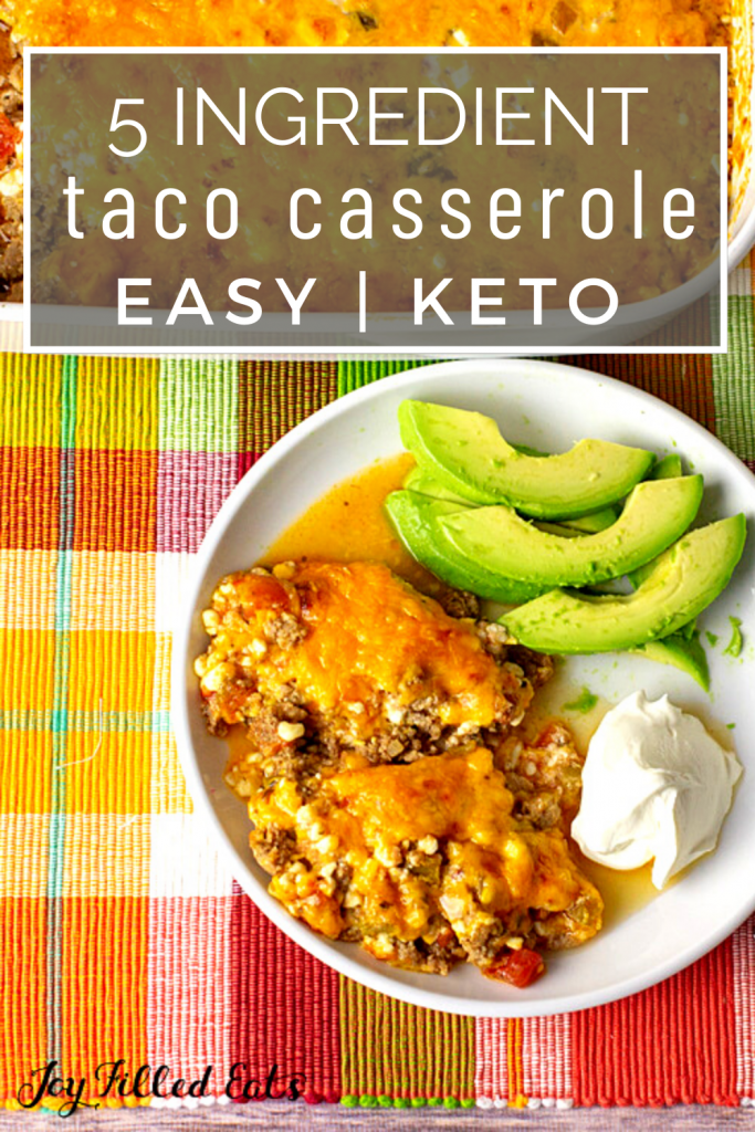 pinterest image for keto taco casserole