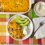overhead square shot of keto taco casserole and a serving on a plate