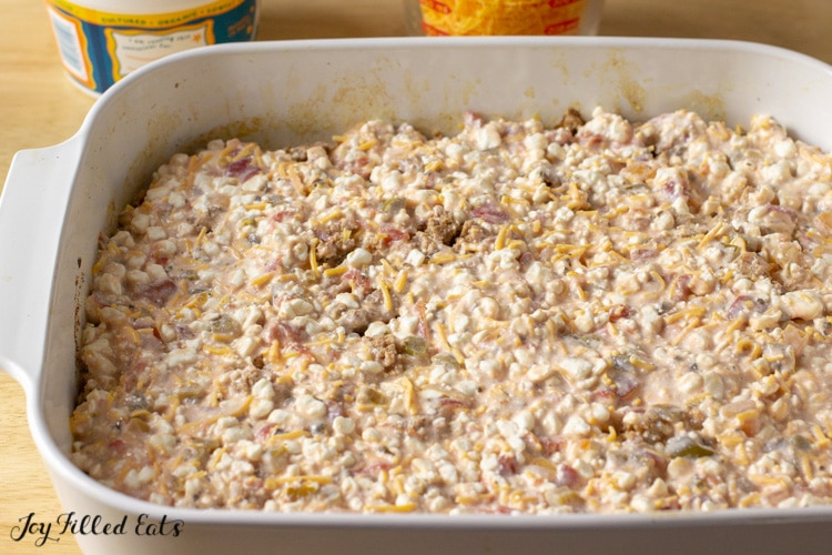 creamy cottage cheese sauce layered onto ground meat layer