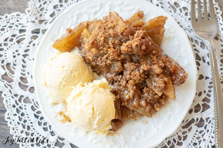overhead shot of keto apple crisp and low carb vanilla ice cream