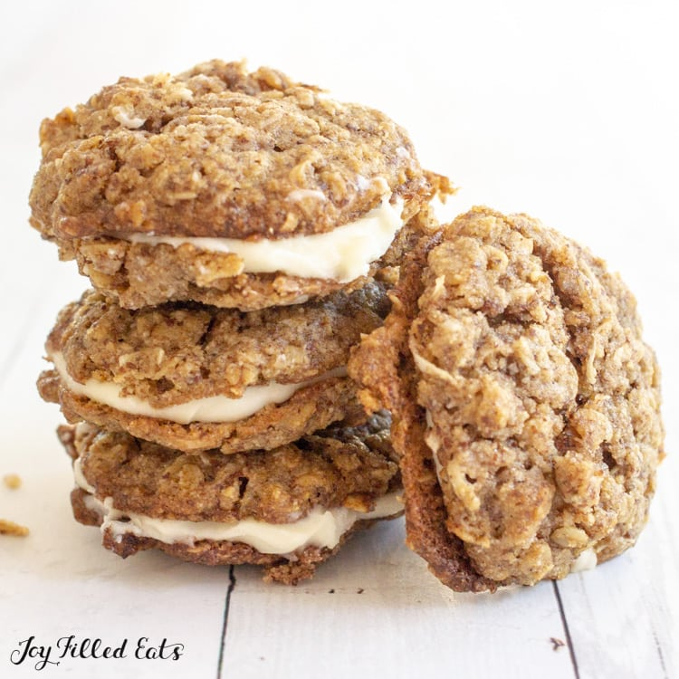a stack of keto oatmeal cookies with creamy filling