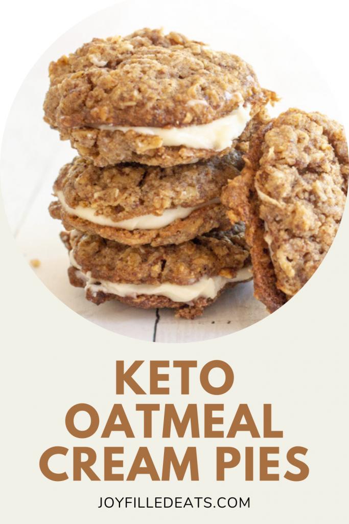 pinterest image for keto oatmeal cream pies