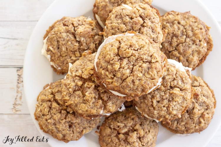 overhead shot of a plate with oatmeal cream pie cookies