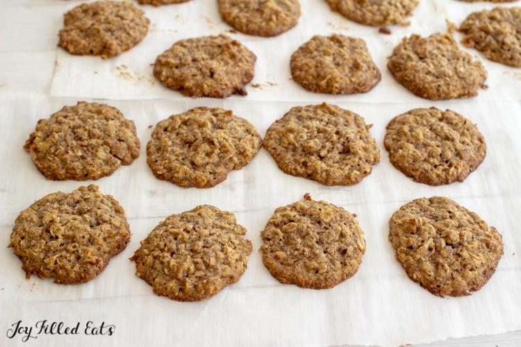 a baking sheet with keto oatmeal cookies