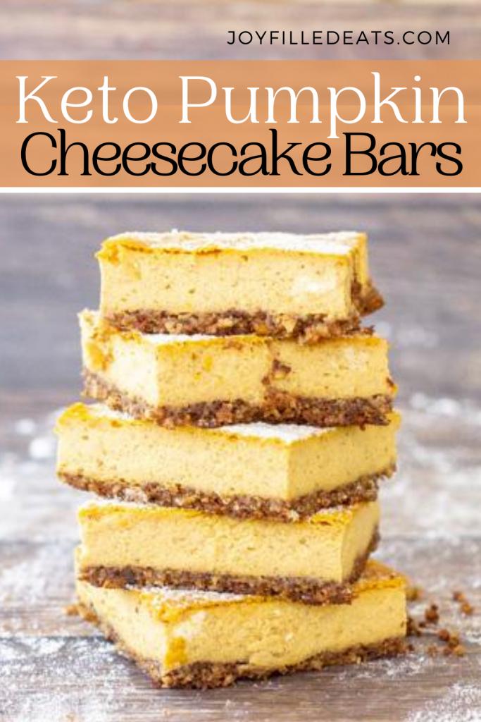 pinterest image for keto pumpkin cheesecake bars