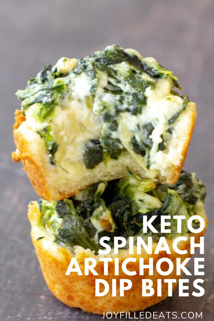 pinterest image for keto spinach artichoke dip bites