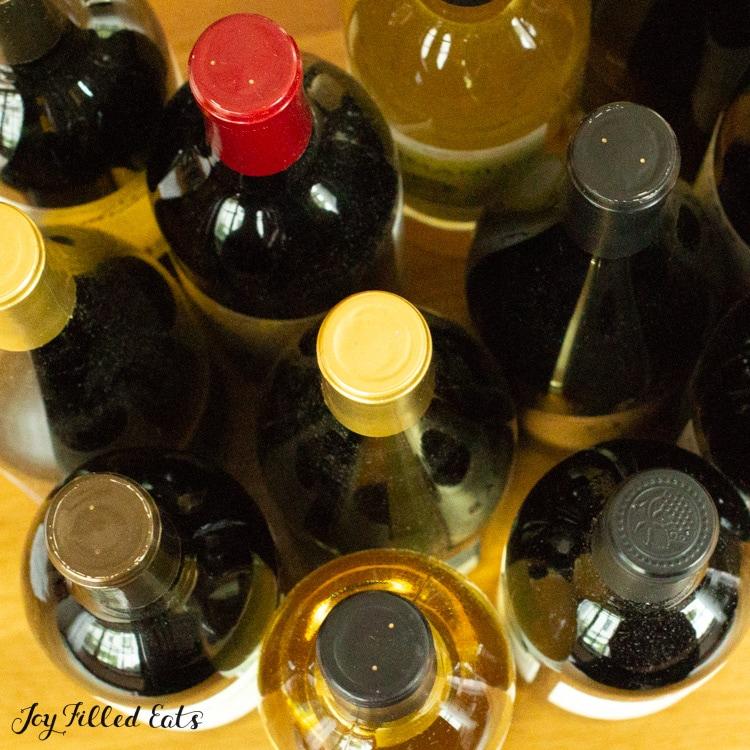 overhead shot of bottles of wine
