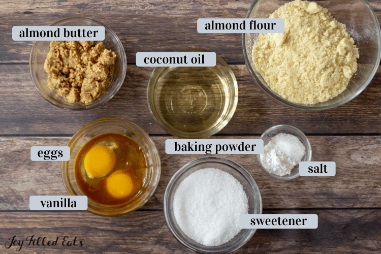 small bowls of ingredients including almond flour and sweetener