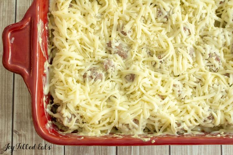 mozzarella cheese topped casserole