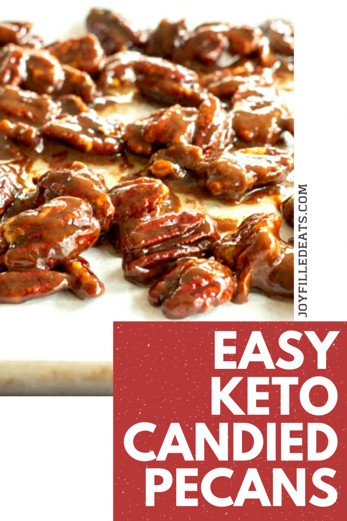 pinterest image for keto candied pecans