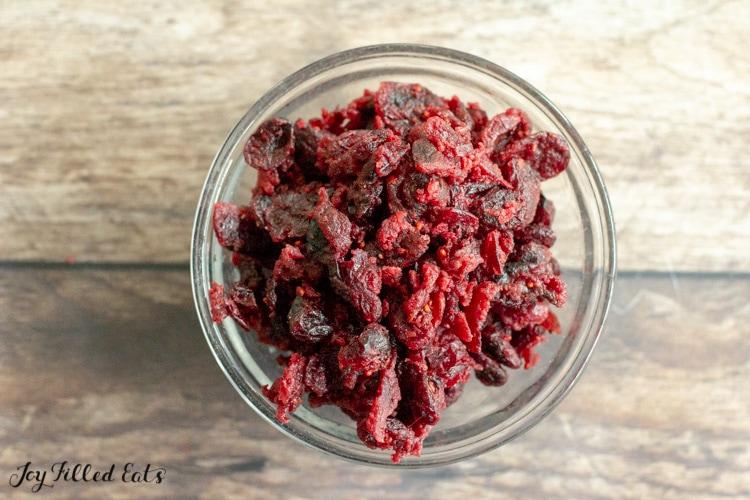 bowl of sugar free dried cranberries