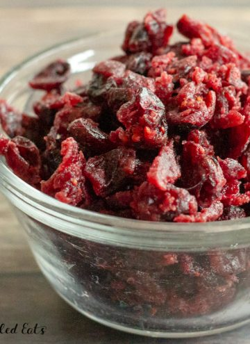 close up of the cranberries