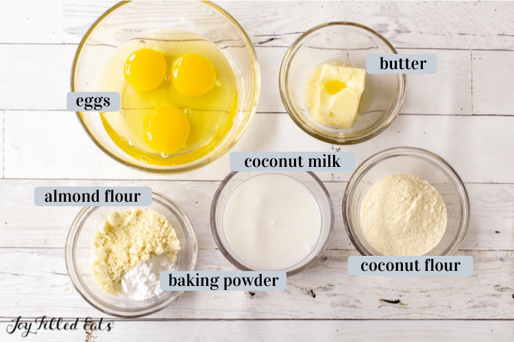 ingredients in bowls for the bread portion of the dish