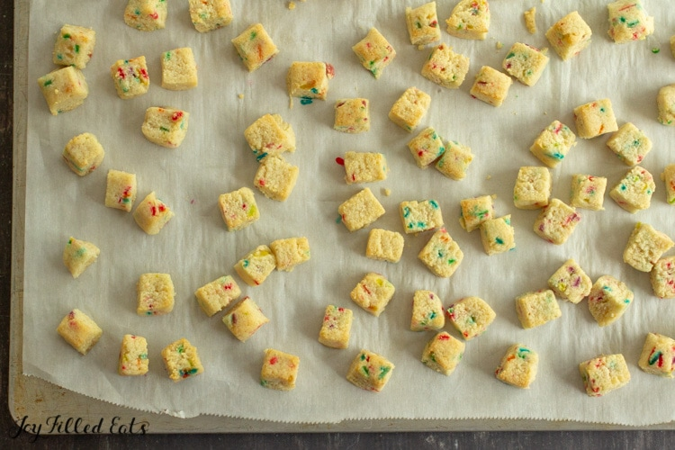 overhead shot of small cubes of cookie dough