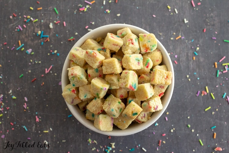 a bowl with funfetti cookie bites