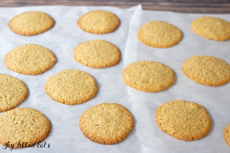 baked keto almond butter cookies on parchment