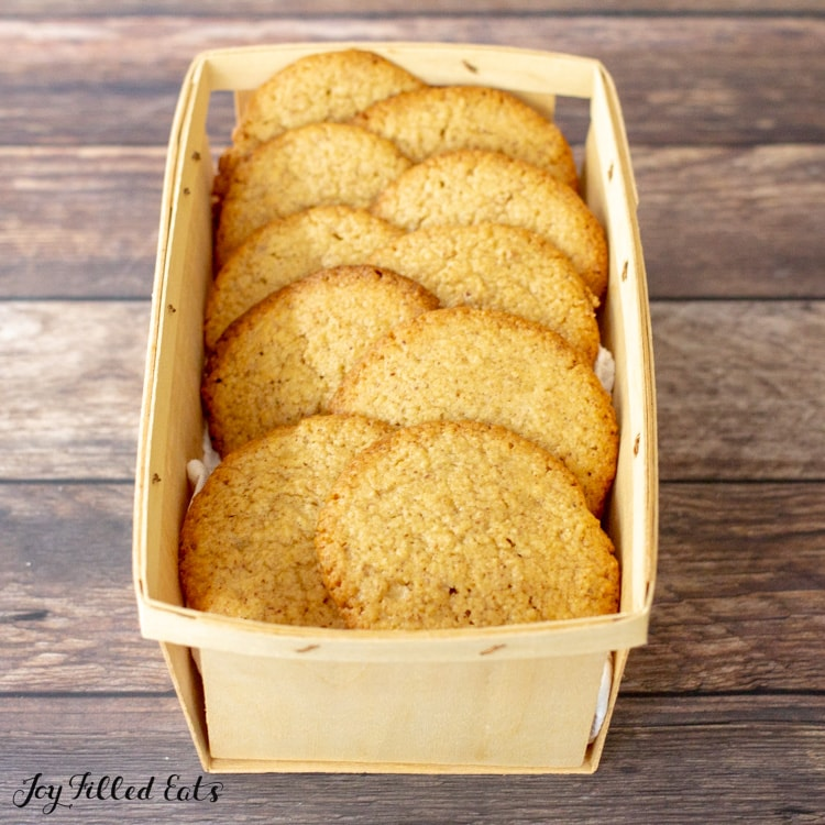 cookies in a wood container