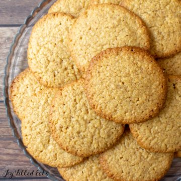 close up of keto almond butter cookies