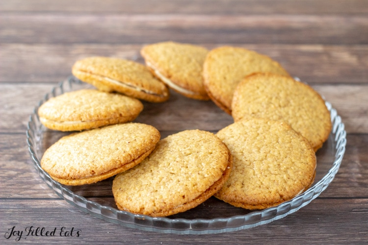 keto almond butter cookies sandwiched with white chocolate