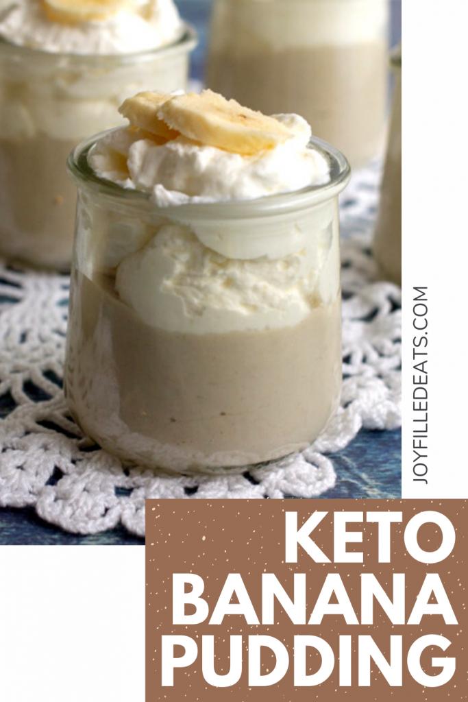 pinterest image for keto banana pudding