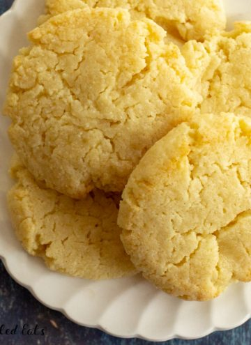 close up overhead shot of a plate with keto butter cookies