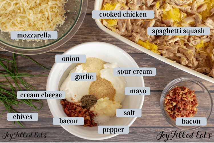 ingredients in small bowls including squash, chicken, bacon, and seasonings