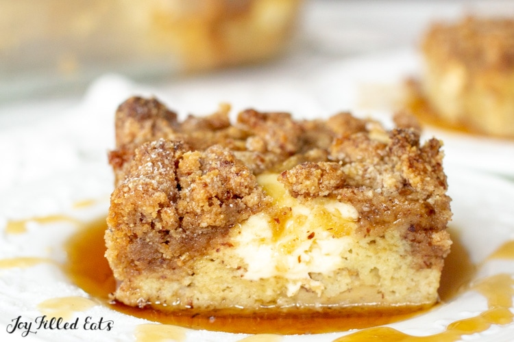 a piece of the keto french toast casserole on a small plate