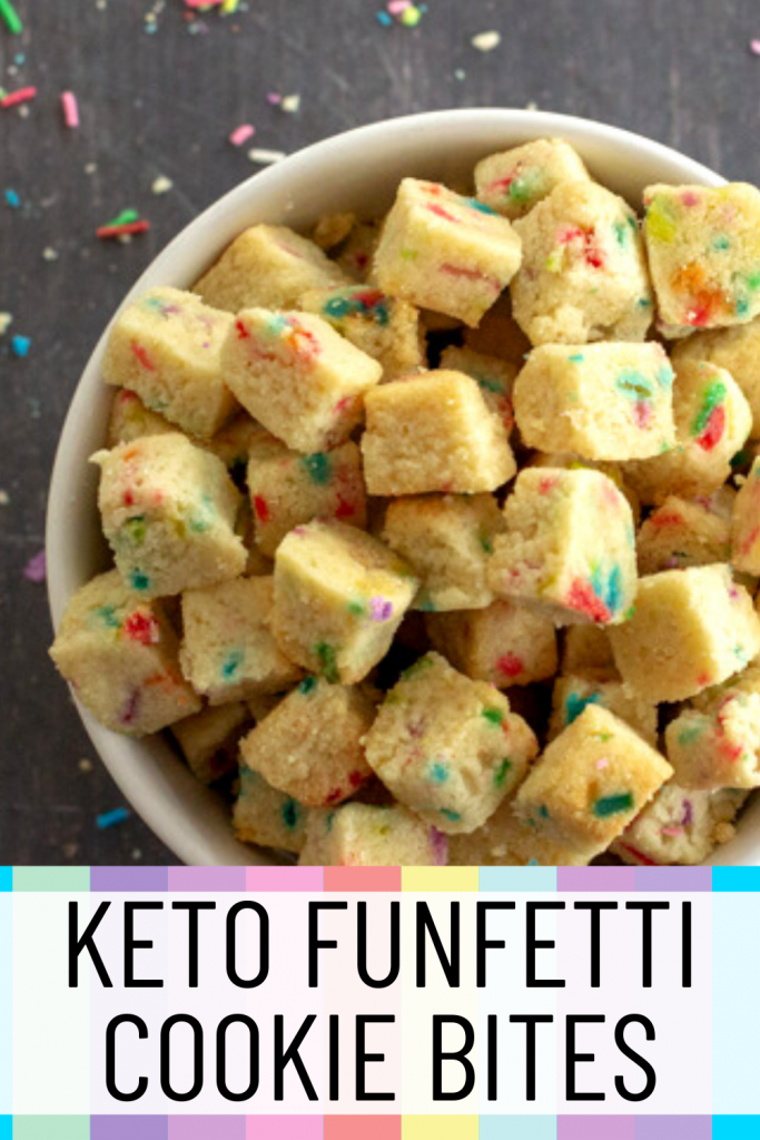 pinterest image for keto funfetti cookie bites