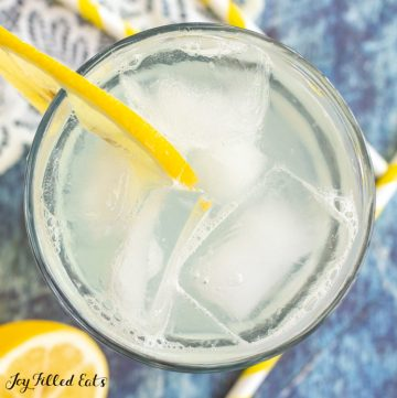 close up of glass of lemonade