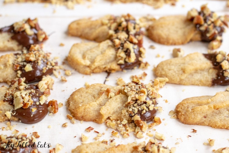 keto shortbread cookies with chocolate and nuts on top