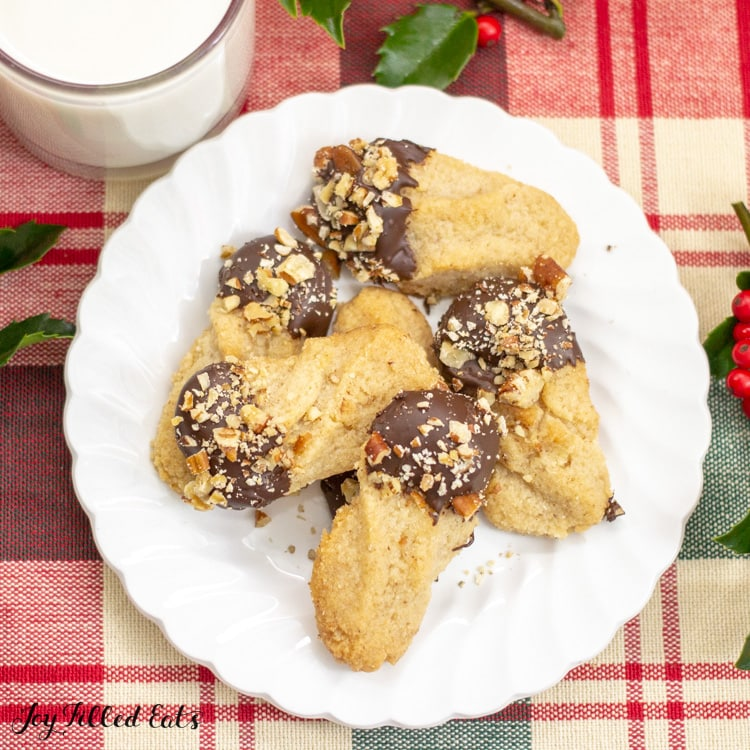 plate of keto shortbread with chocolate and nuts