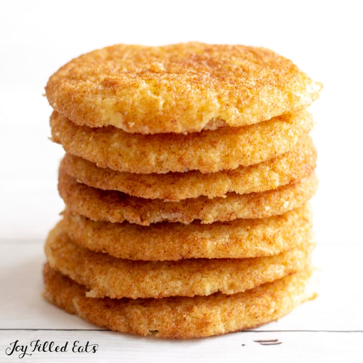 close up of stacked snickerdoodles