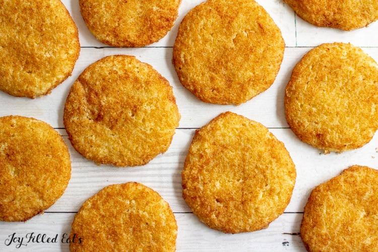 close up of baked keto snickerdoodles