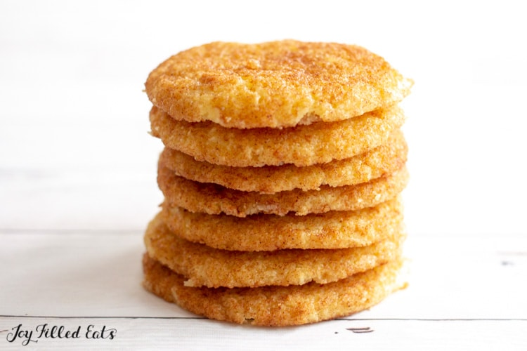 a tall stack of keto snickerdoodles