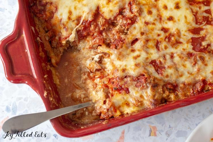overhead shot of the keto spaghetti bake