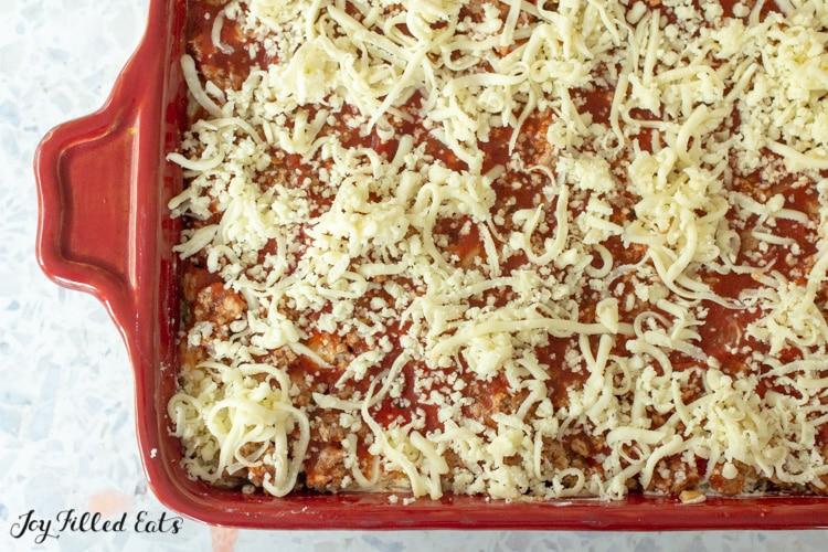 the keto spaghetti casserole with shredded mozzarella