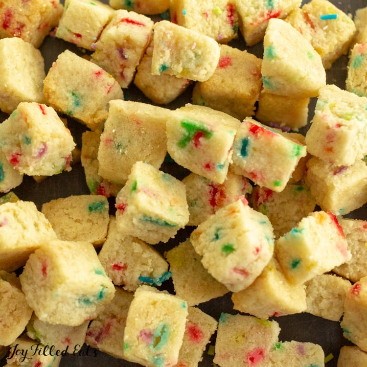 tiny cubes of funfetti cookie bites