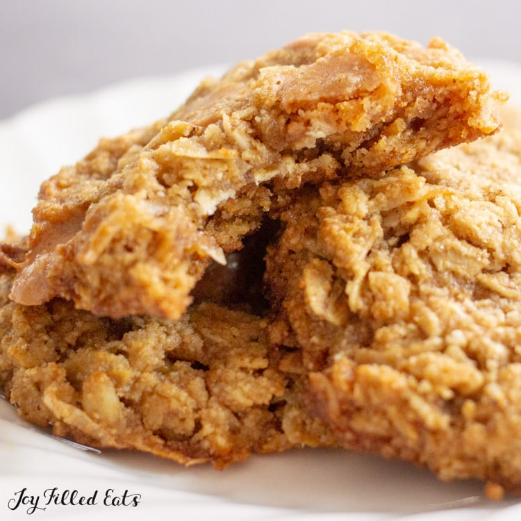 close up of an oatmeal cookie with a bite missing