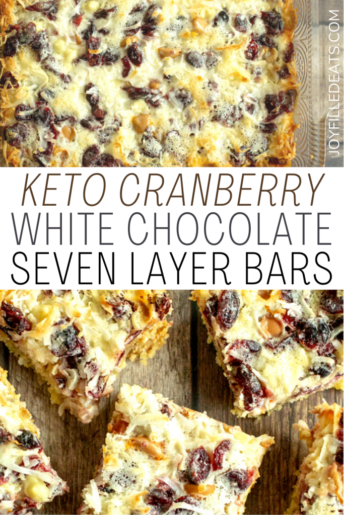 pinterest image for white chocolate cranberry seven layer bars