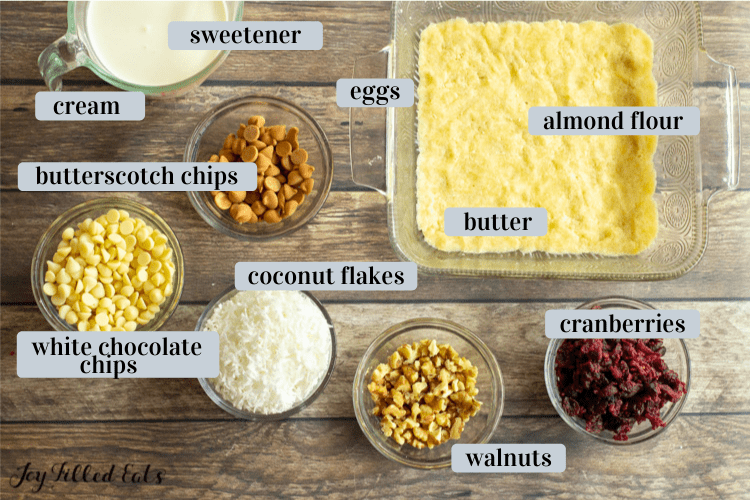ingredients in bowls and the crust in a baking dish