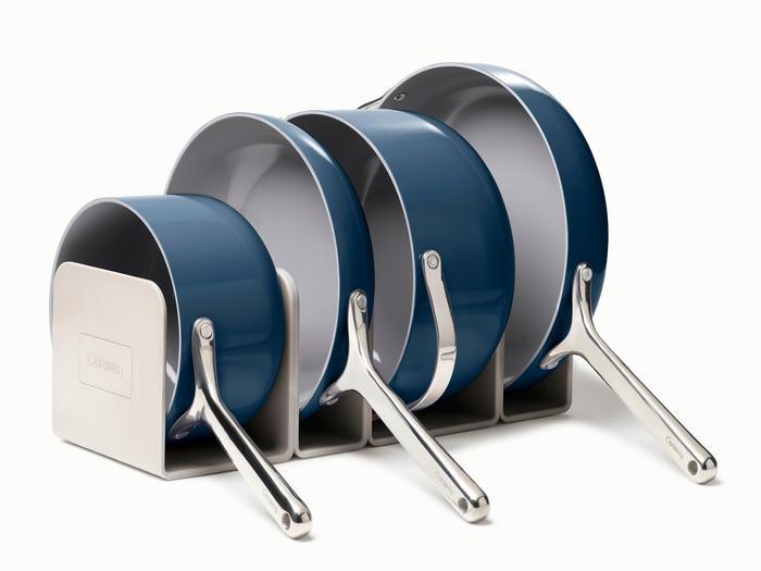 caraway pans in a rack