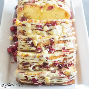 close up of slices of the keto white chocolate cranberry bread