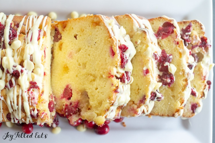 overhead shot of slices of the keto white chocolate cranberry bread
