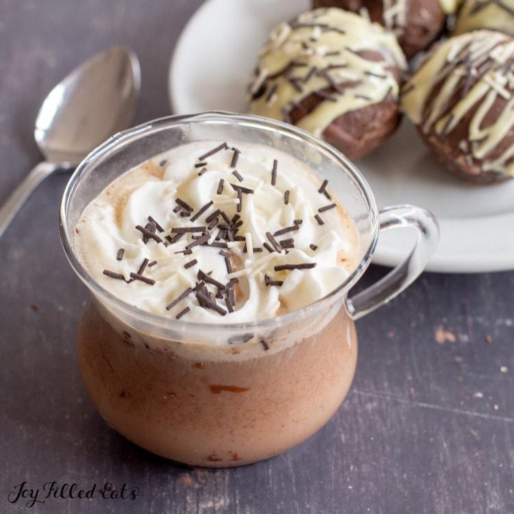 a mug with keto hot chocolate